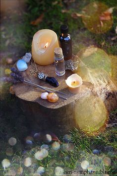 Lovely little stump altar Wicca Witchcraft, Pagan Witch, Pagan Altar, Witch Aesthetic, Book Of Shadows, Faeries, Candles, Tree Stump, Facebook