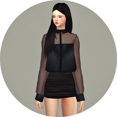 Sims 4 CC's - The Best: New See-through Blouse by Marigold
