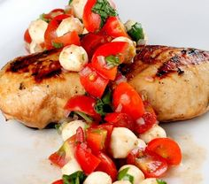 If you're looking for something quick, healthy, and delicious to jazz up some grilled chicken, this is it. This is a really light and fresh summer meal. And the best part is, you don't even have to turn on the oven! Throw together the bruschetta a few hours before dinner, then grill the chicken 15 minutes before you are ready to eat.