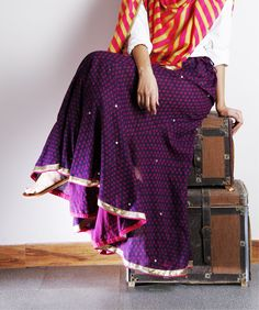Purple printed skirt by Darzi on Indianroots.com