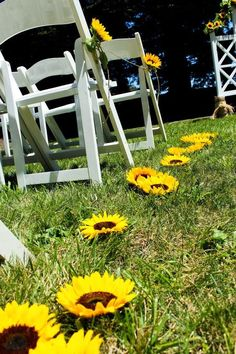 Sunflower wedding aisle / http://www.himisspuff.com/outdoor-wedding-aisles/2/