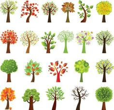 a variety of lovely trees vector, all seasons, variety of tree types, scalable