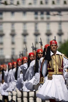The Presidential Guard in Athens (and other views of Greece) Greek Beauty, National Guard, My Heritage, Macedonia, Ancient Greece, Greece Travel, Albania, Beautiful Islands, Beautiful Places