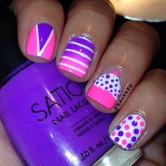 Gorgeous nail with pink and purple