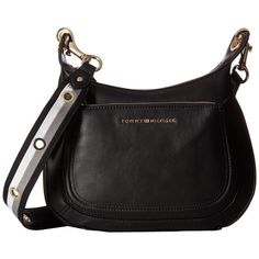 Tommy Hilfiger Michaela Crossbody Hobo (Black) Hobo Handbags ($118) ❤ liked on Polyvore featuring bags, handbags and shoulder bags