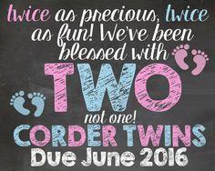 Twins Pregnancy Announcement DIGITAL FILE by ChalkFullOfGrace