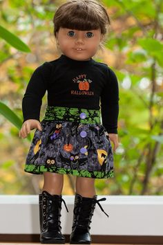 Halloween Skirt, T Shirt with Pumpkins, Owls and Witches, Made with Classic Skirt by Forever 18 Inches, found at http://www.pixiefaire.com/collections/18-inch-doll-skirt-patterns/products/classic-skirt-bundle-18-doll-clothes #pixiefaire #classicskirtbundle