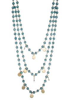 Blue Glass Bead & Disc Layer Necklace by Danielle Stevens on @HauteLook