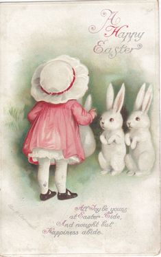 A Happy Easter ~ vintage card with artwork by Ellen Clapsaddle ~ young girl in bonnet with white bunnies | via Two Crazy Crafters