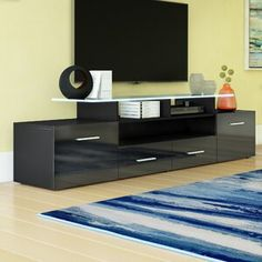 Orren Ellis Griner Modern Coffee Table & Reviews Electric Fireplace Reviews, Recessed Electric Fireplace, Living Room Storage, Living Room Sets, Storage Spaces, Floating Entertainment Center, Entertainment Centers, Vinyl Wall Panels, Living Room Arrangements
