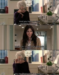 Miranda Priestly puts the devil, in The Devil Wears Prada. Everyone fears and loves Miranda,… Funny Movies, Great Movies, Funny Movie Scenes, Movies Showing, Movies And Tv Shows, Love Movie, Movie Tv, Favorite Movie Quotes, Devil Wears Prada