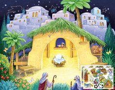 Kid's Nativity Sticker Advent Calendar by Randy Wollenmann | Sticker Advent Calendars | Vermont Christmas Co. VT Holiday Gift Shop