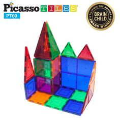 PicassoTiles 60 Piece Set Clear 3D Magnet Building Blocks Tiles, Multicolor