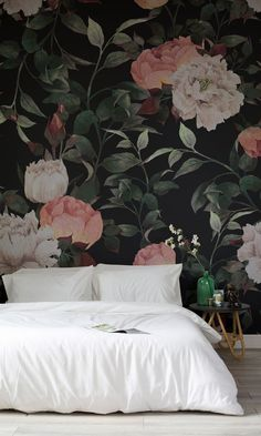 Make a statement with this dark floral wallpaper mural. Inky flowers are set against a sumptuously dark background, creating a dramatic effect in any interior. Perfect for bedroom spaces looking for a truly sophisticated feel. #oakfurniture