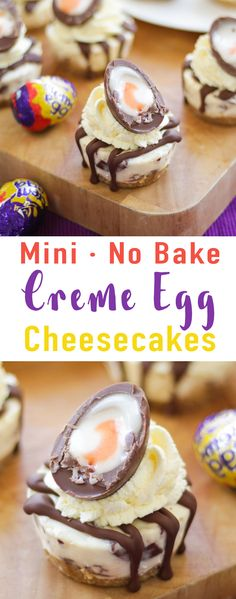 Mini No Bake Creme Egg Cheesecake Recipe - delicious light and creamy no bake Easter dessert. The perfect cake for your Easter celebration! *Including video tutorial* via @tamingtwins