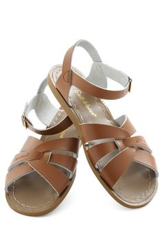 $39.99 Outer Bank on It Sandal in Brown by Salt Water Sandals - Brown, Solid, Casual, Summer, Flat, Beach/Resort, Variation, Top Rated