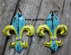 LaSalle Fleur De Lis in Turquoise and Mustard Yellow Earrings www.gugonline.com $29.95