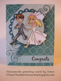 Wedding card with Spesch's Wedding digi stamp (colored with Prismacolor pencils)