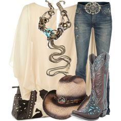 """Presidio Boot"" by saintcharlesstyle...love the top she boots, lose the gaudy buckle and the fake straw hat.."
