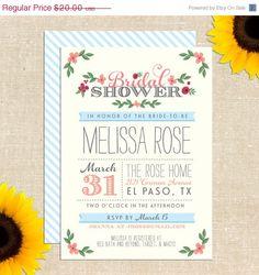 ONE DAY SALE Whimsy Bridal Shower Invitation Diy Printable. $10.00, via Etsy.
