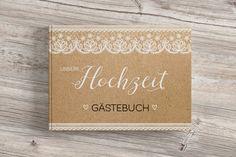 Dieses tolle Gästebuch im vintage Spitzendesign mit Kraftpapieroptik bedruckt passt hervorragend zu allen tollen, romantischen Hochzeiten. Wir passen Eure Namen und Datum gerne individuell...