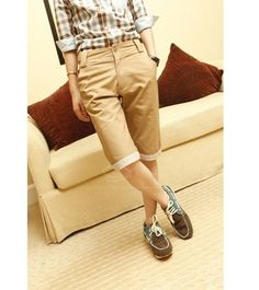 Casual Style Solid Color and Hemming Design Short Pants For Men