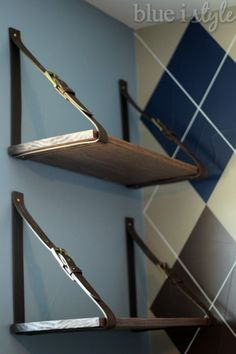 s cut up a belt for these 12 amazing decor ideas, home decor, Adhere them to the wall for shelving