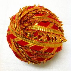 red and gold gota patti ribbon - gota border for dresses