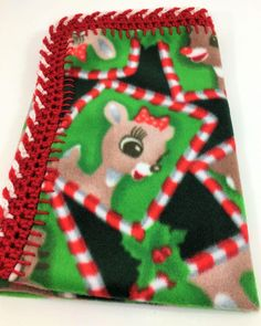 Rudolph and Clarice 18x18 Crochet Edge Fleece Baby Doll Blanket by MonaSewingTreasures on Etsy
