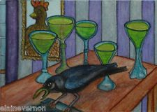 """NFAC July """"Birds"""" ACEO Miniature Painting """"Absinthe and Crow"""" Original"""