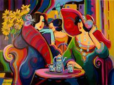 "THE GARDEN PARTY  Isaac Maimon Acrylic/Oil on Canvas 30""   X  40"