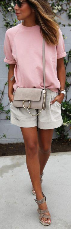 Pink + tans.