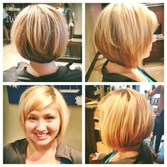 Short hair, bob, asymmetrical, blonde hair.  Make your appointment with Jillian! http://beicapellidaytona.com/ ~B~