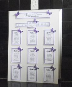 Personalised A3 / A2 Wedding Seating Plan Table Planner Butterfly Many Colours