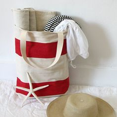 Ripe for end of summer daze - red stripe vintage tote from Jill Bent of Cambridge.