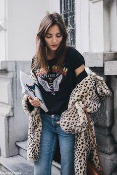 POLIENNE by Paulien Riemis | wearing a VILA shirt, & OTHER STORIES denim, EPISODE faux fur coat and LA REDOUTE slides in Antwerp, Belgium