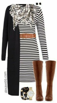 Plus Size Striped Dress Outfit I know It's such a classic look. It would even work with a striped dress. Just add a sweater. Side note: I love this handbag for this outfit. Mode Outfits, Casual Outfits, Fashion Outfits, Womens Fashion, Dress Casual, Fashion Ideas, Fashion Trends, Dress Fashion, Fashion Clothes