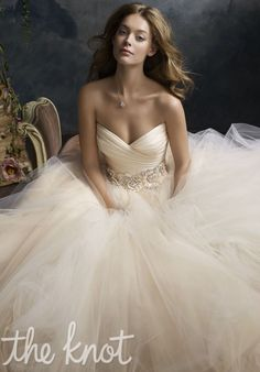 Lazaro wedding dress with floral jewel encrusted band at waist.