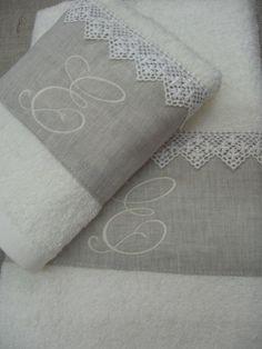 Set asciugamani 100% cotone con inserto lino di Atelier di Pilaf su DaWanda.com