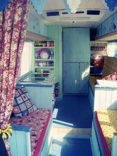 it's refreshing to see something fresher and brighter than wood-stained interiors... i'm leaning towards a sweet combination of natural wood and color... just like my stationary home ~ lovelane trailer | caravans