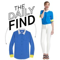 """""""The Daily Find: Equipment Colorblocked Blouse"""" by polyvore-editorial on Polyvore"""