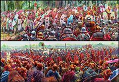 Roman Legionaries battle Germanic warriors - art by Peter Dennis