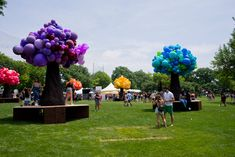 Giant balloon trees by Katie Balloons sprouted up throughout the festival grounds.