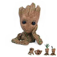 Multifunction Moive Baby Groot Planter Pen Container Guardians of The Galaxy Tree Man Flowerpot with Hole Action Figures Model Toy Baby Groot Action Figure, Lg K10, Figure Model, Pen Holders, Pencil Holder, Guardians Of The Galaxy, Diy Toys, Kawaii Anime, Flower Pots