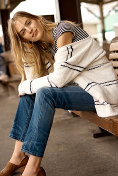 95985fc832 madewell striped bouclé cardigan worn with baby tee, straight-leg jeans in  cloverdale +