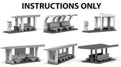 LEGO INSTRUCTIONS to build 6 custom Bus stops for LEGO Modular City, NO BRICKS