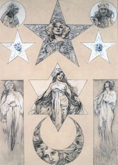 Alphonse Mucha. All very beautiful, if I were to get one it would be the moon