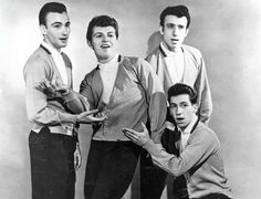 Dion & the Belmonts in the late 1950s. From left are Fred Milano, Dion DiMucci, Carlo Mastroangelo and Angelo D'Aleo, kneeling.