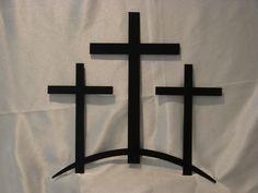 Trinity Crosses Metal Wall Art   Metalheadartdesign - Metal Craft on ArtFire