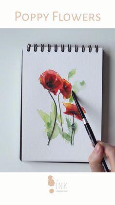 Sketch Videos Easy s Watercolor Flowers Tutorial, Watercolor Poppies, Watercolor Video, Watercolor Painting Techniques, Watercolour Tutorials, Watercolor And Ink, Watercolor Illustration, Watercolor Paintings, Original Paintings